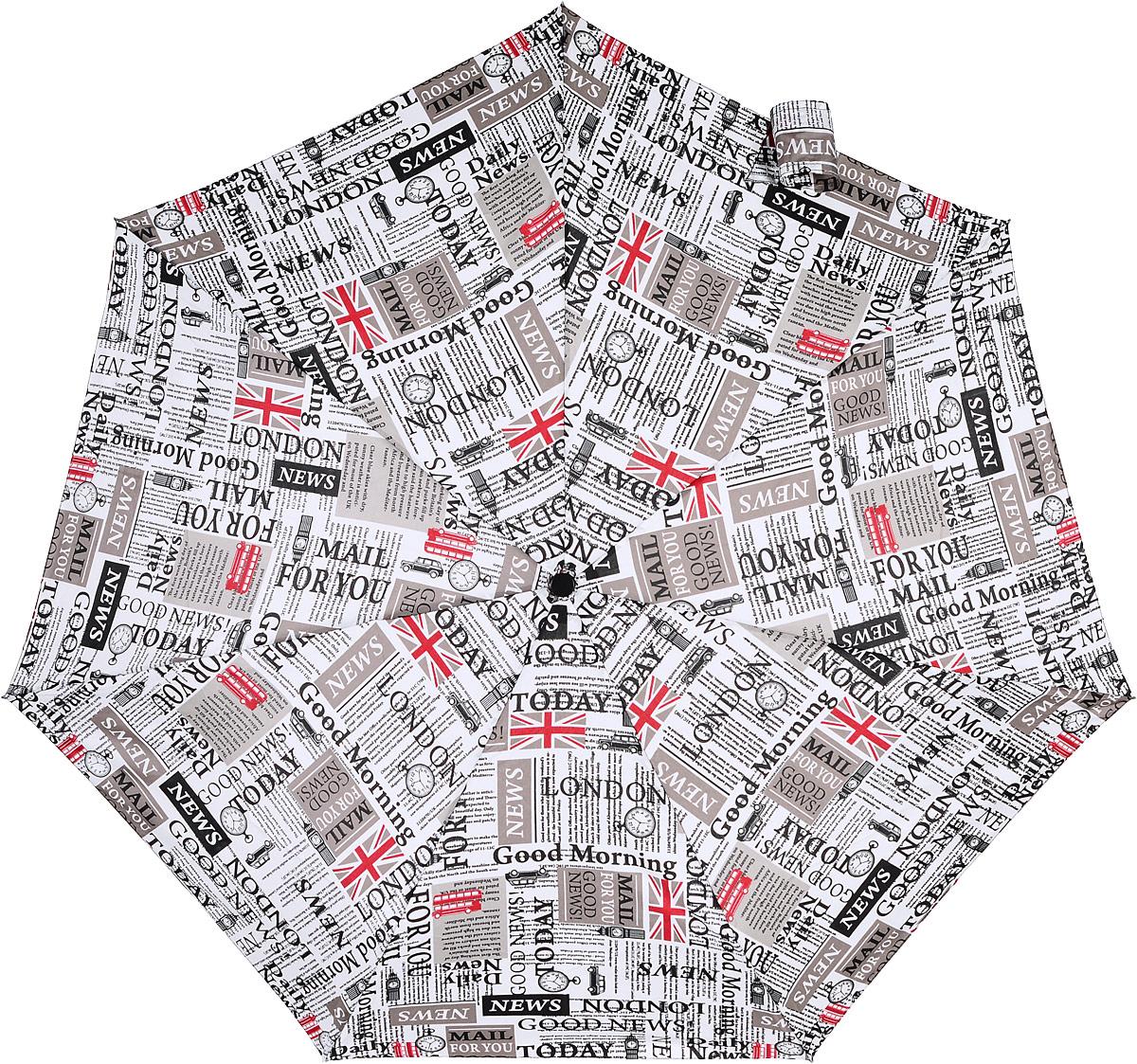 """Зонт-автомат женский Isotoner """"Новости Лондона"""", 3 сложения, цвет: белый, черный, серый. 09397"""