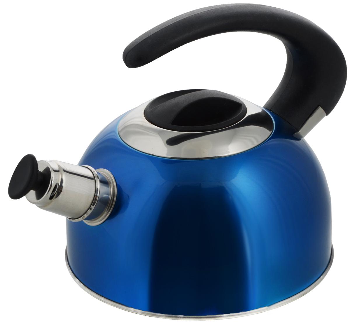 Чайник Calve, со свистком, цвет: синий, 1,8 лCL-1459_синийЧайник Calve изготовлен из высококачественной нержавеющей стали с термоаккумулирующим дном. Нержавеющая сталь обладает высокой устойчивостью к коррозии, не вступает в реакцию с холодными и горячими продуктами и полностью сохраняет их вкусовые качества. Особая конструкция дна способствует высокой теплопроводности и равномерному распределению тепла. Чайник оснащен бакелитовой удобной ручкой. Носик чайника имеет откидной свисток, звуковой сигнал которого подскажет, когда закипит вода. Подходит для всех типов плит, включая индукционные. Можно мыть в посудомоечной машине. Диаметр чайника (по верхнему краю): 10,5 см. Высота чайника (без учета ручки и крышки): 10 см. Высота чайника (с учетом ручки): 18 см.