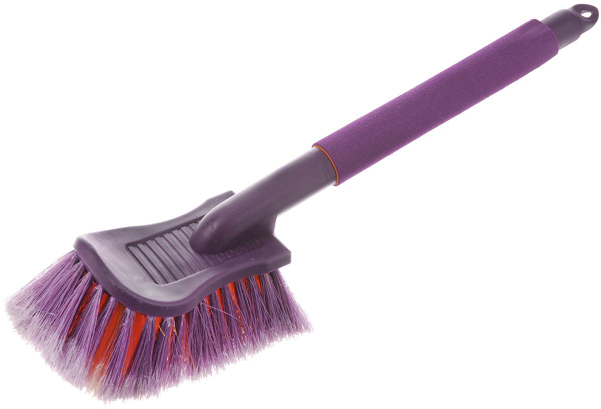 Щетка для мойки автомобиля Zipower, нецарапающая, цвет: фиолетовый, оранжевый, длина 43 смPM 2180Щетка Zipower изготовлена из высококачественного пластика и оснащена эргономичной рукояткой с накладкой из пенополиэтилена для защиты рук от мороза. Изделие обеспечивает безопасное удаление загрязнений и не оставляет царапин. Распушенные кончики щетины придают дополнительный объем и увеличивают рабочую поверхность, бережно воздействуя на лакокрасочное покрытие, стекла и другие элементы автомобиля. Длина щетки: 43 см. Размер рабочей поверхности: 19 х 10 см. Длина щетины: 6 см.