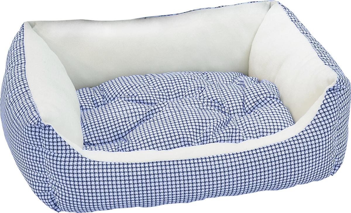 Лежак для животных Зооник Диван, цвет: синий, белый, 56 х 42 х 16 см22187/4Лежак для животных Зооник Диван прекрасно подойдет для отдыха вашего домашнего питомца. Предназначен для собак мелких пород и кошек. Изделие выполнено из прочной ткани. Снабжено невысокими широкими бортиками и съемной мягкой подушкой. Комфортный и уютный лежак обязательно понравится вашему питомцу, животное сможет там отдохнуть и выспаться. Размер лежака: 56 х 42 х 16 см. Наполнитель: синтепон. Ткань: хлопок
