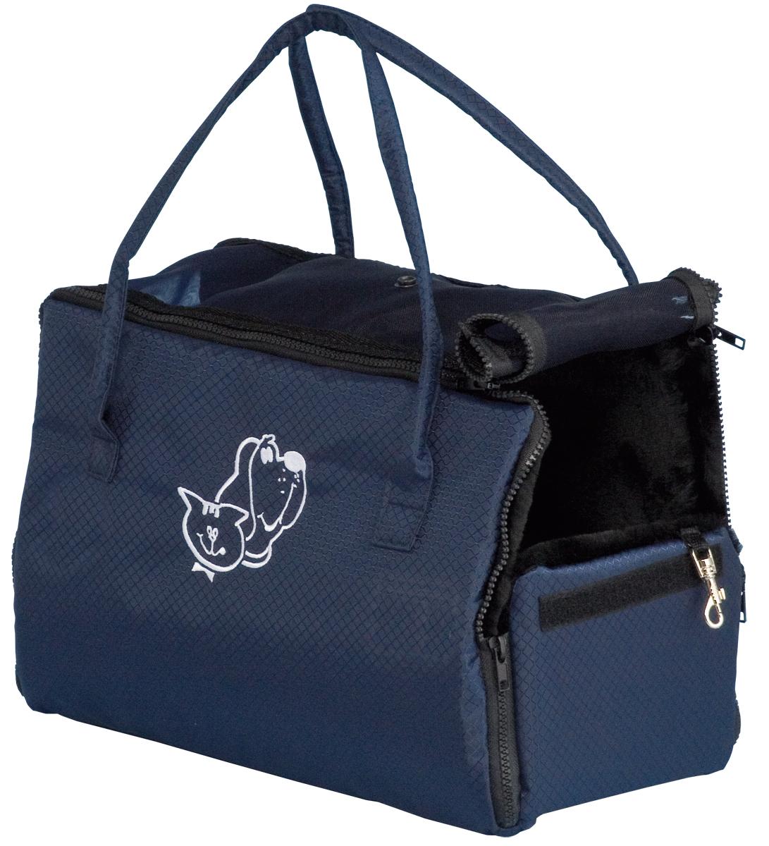 Переноска для животных Зооник, цвет: синий, 38 х 18 х 31 см2276Сумка-переноска Зооник с аппликацией собака и кошка изготовлена из высококачественной ткани ПВХ темно-синего цвета в мелкую клетку. Ткань водонепроницаема, легко поддается чистке.Сумка предназначена как для кошек, так и для собак мелких пород. Внутри сумка отделана искусственным мехом черного цвета. С одной стороны окошко с сеткой и с клапанами на кнопках. Внутри вшит поводок для крепления ошейника.