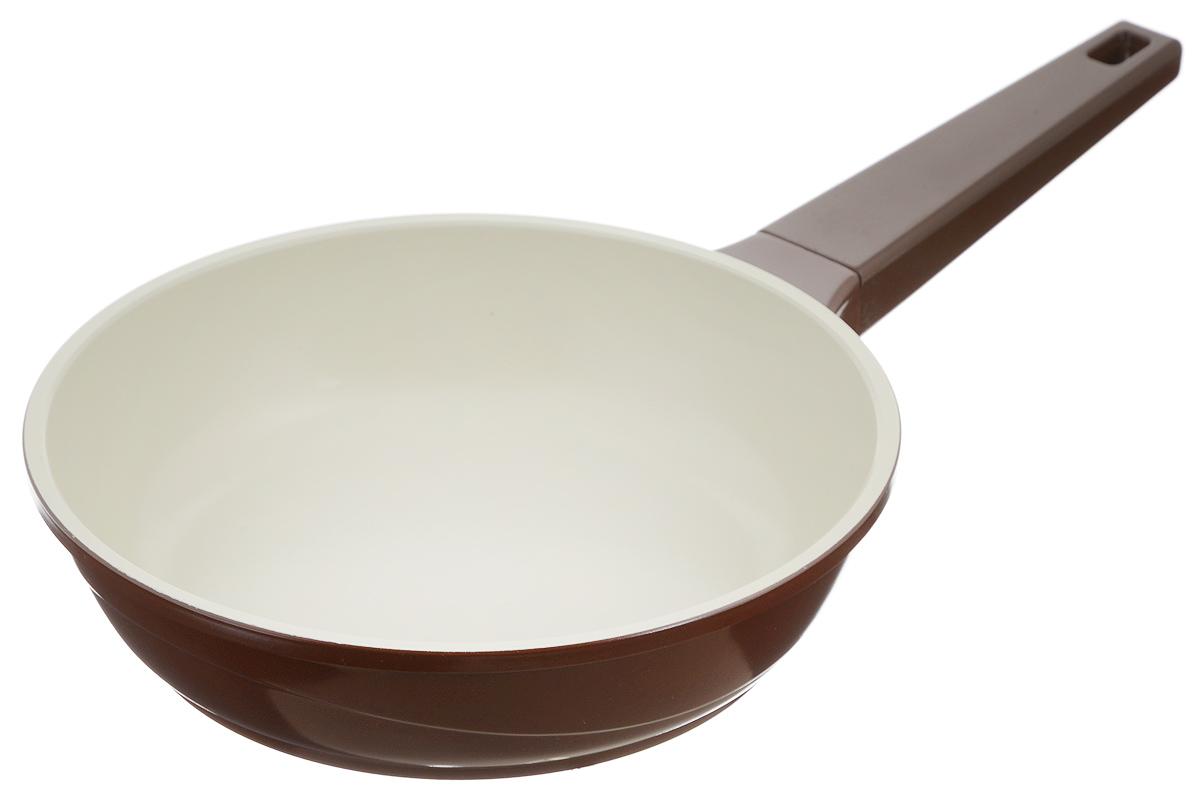 """Сковорода """"Biostal"""", с керамическим покрытием, цвет: коричневый, бежевый. Диаметр 22 см. FPD-22"""
