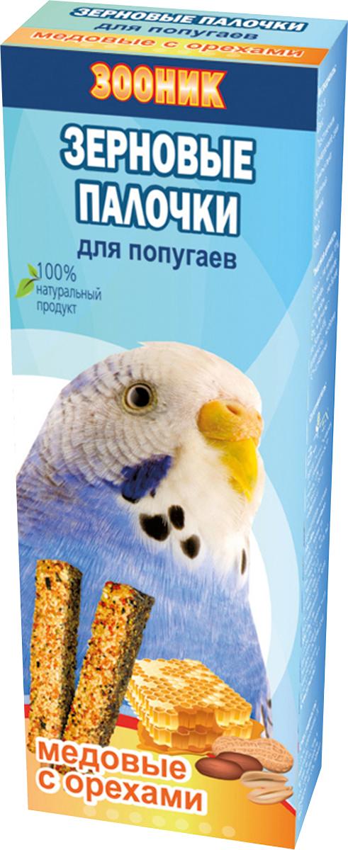 Палочки зерновые Зооник, для волнистых попугаев, медовые с орехами, 2 шт4018Зерновые палочки Зооник — изготовлены из натуральных компонентов, скрепленных на яичной основе вокруг съедобной деревянной палочки. Входящие в состав орехи являются дополнительным источником натуральных питательных элементов. Лакомство является прекрасным и вкусным дополнением к основному рациону вашего питомца. Состав: просо, овес, подсолнечник, канареечное семя, семена льна, пшеница, арахис, мед, яйцо. Товар сертифицирован.
