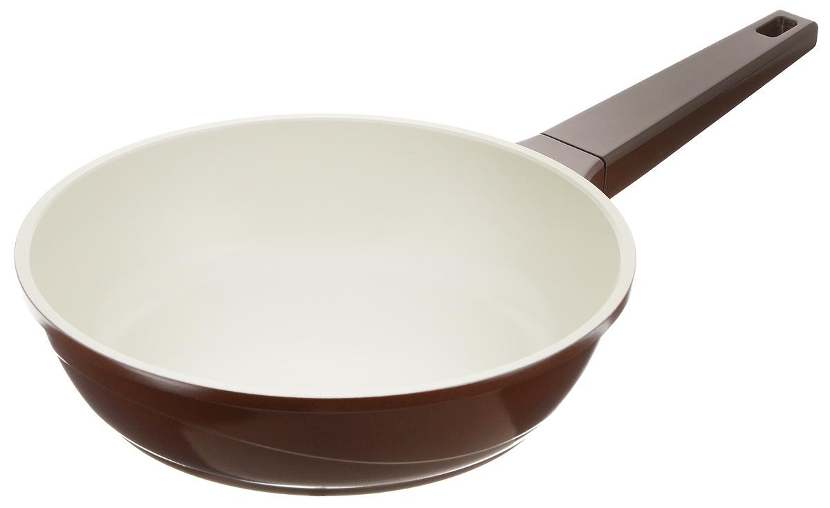 """Сковорода """"Biostal"""", с керамическим покрытием, цвет: коричневый, бежевый. Диаметр 24 см. FPD-24"""