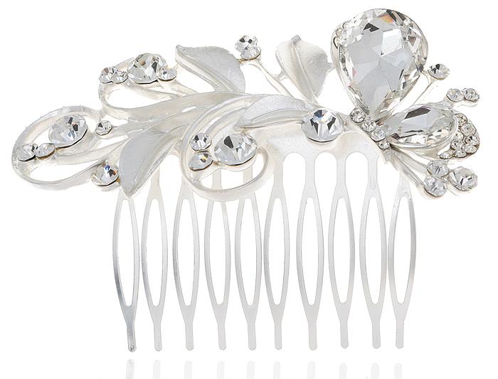 Гребень для волос 'Адель'. Прозрачные кристаллы и стразы, бижутерный сплав серебряного тона. Villa di Mario, Италия