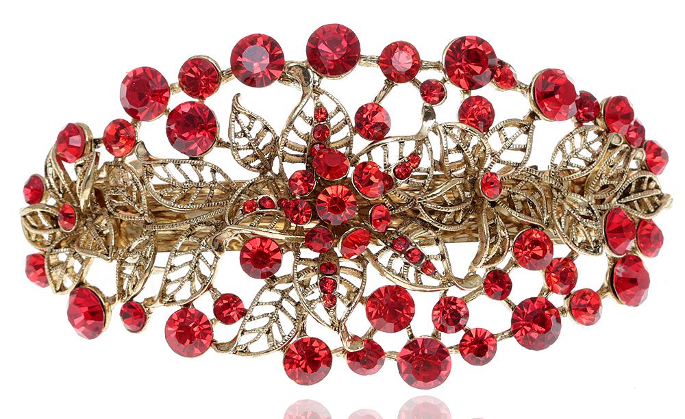 Заколка для волос в византийском стиле от D.Mari. Кристаллы и стразы рубинового цвета, бижутерный сплав 'старое золото'. Гонконг
