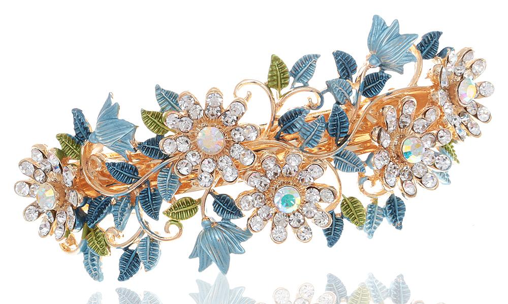 Заколка для волос 'Очаровательное лето' от D.Mari. Кристаллы Aurora Borealis, цветные эмали, прозрачные стразы, бижутерный сплав золотого тона. Гонконг