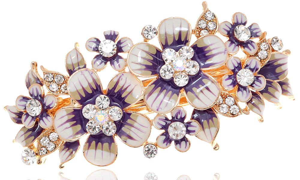 Заколка для волос 'Очаровательное лето' от D.Mari. Кристаллы Aurora Borealis, цветные эмали, прозрачные кристаллы, бижутерный сплав золотого тона. Гонконг