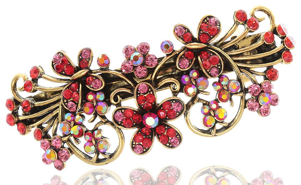 Заколка для волос в византийском стиле от D.Mari. Кристаллы Aurora Borealis, стразы розового и красного цвета, бижутерный сплав 'старое золото'. Гонконг