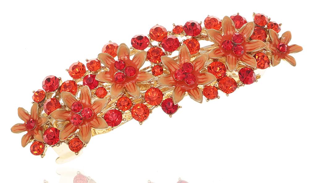 Заколка для волос 'Очаровательное лето' от D.Mari. Кристаллы красного цвета, цветные эмали, бижутерный сплав золотого тона. Гонконг