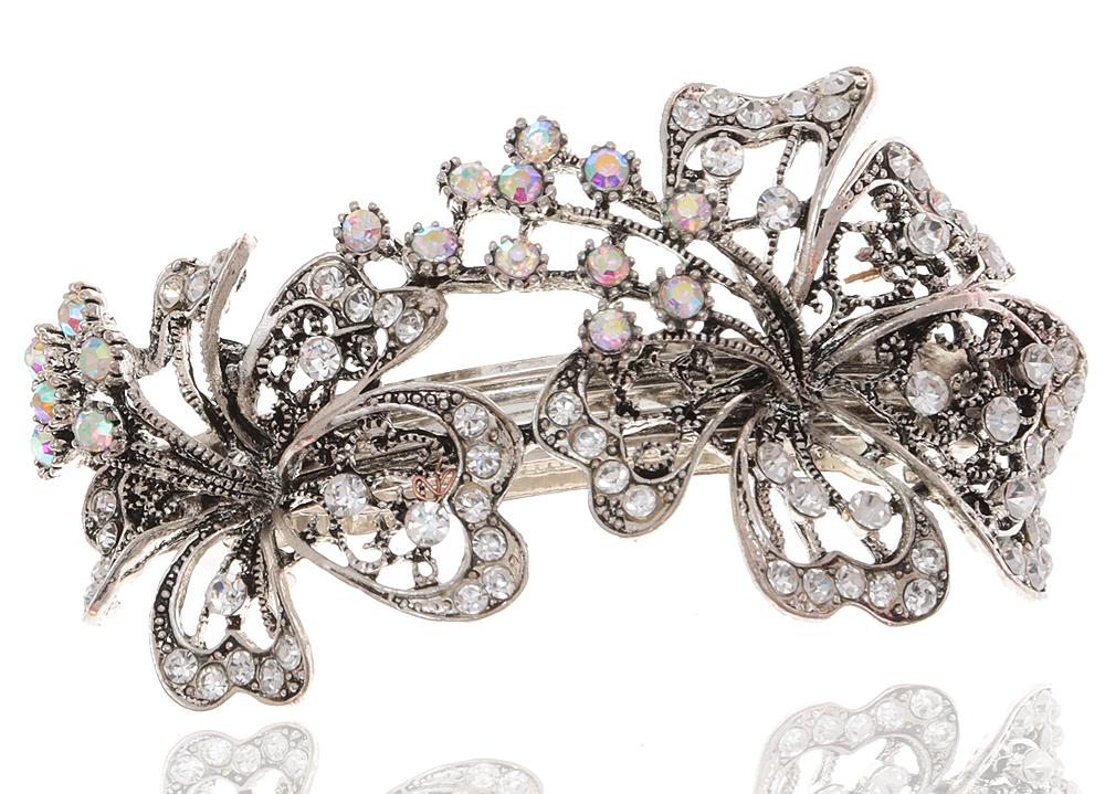 Заколка для волос в византийском стиле от D.Mari. Кристаллы Aurora Borealis, прозрачные кристаллы, бижутерный сплав серебряного тона. ГонконгКСС1Заколка для волос в византийском стиле от D.Mari. Кристаллы Aurora Borealis, прозрачные кристаллы, бижутерный сплав серебряного тона. Гонконг. Размер - 9 х 5 см.
