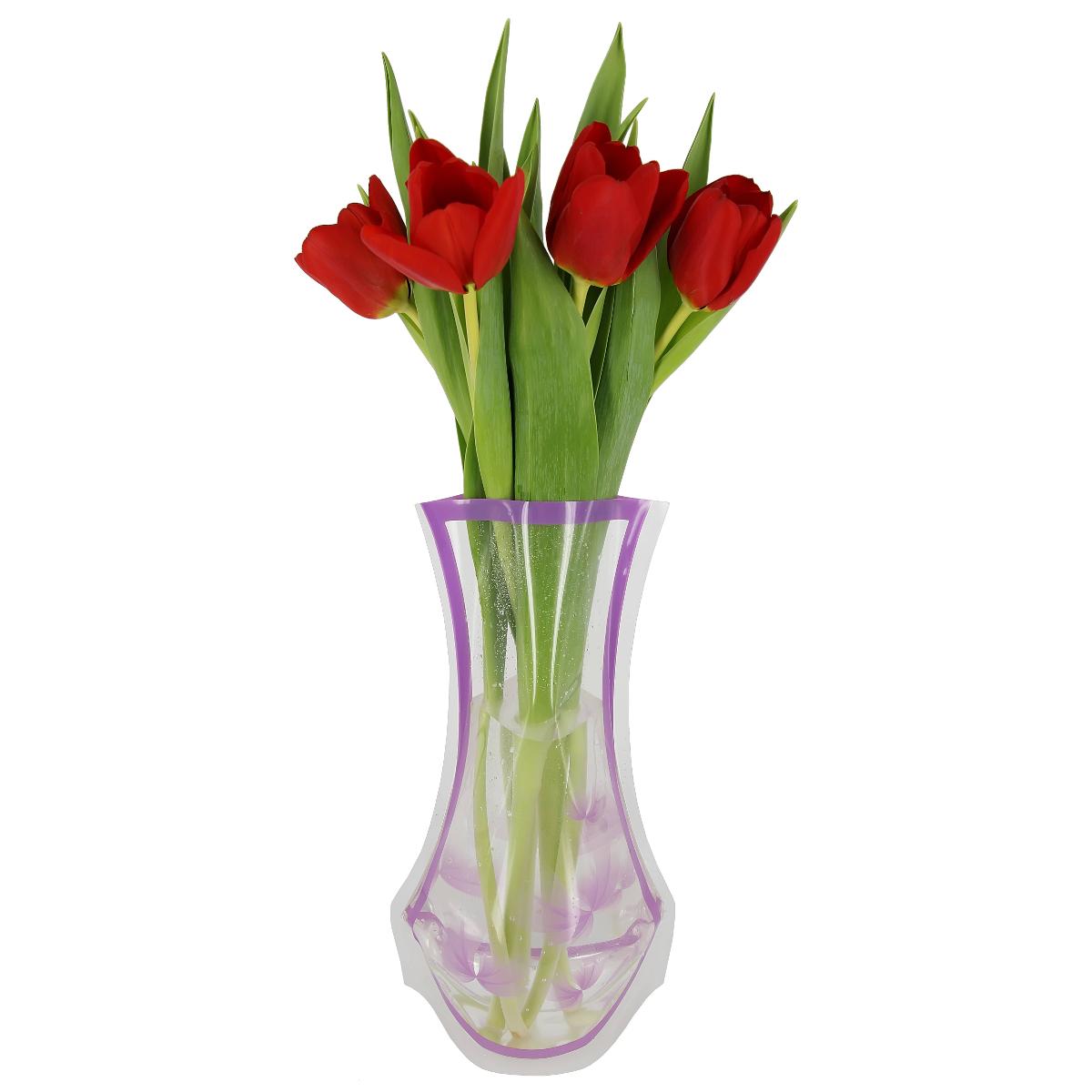 Ваза МастерПроф Фиолетовые лепестки, пластичная, 1,2 лHS.040025Пластичная ваза Фиолетовые лепестки легко складывается, удобно хранится - занимает мало места, долго служит. Всегда пригодится дома, в офисе, на даче, для оформления различных меропритятий. Отлично подойдет для перевозки цветов, или просто в подарок. Инструкция: 1. Наполните вазу теплой водой; 2. Дно и стенки расправятся; 3. Вылейте воду; 4. Наполните вазу холодной водой; 5. Вставьте цветы. Меры предосторожности: Хранить вдали от источников тепла и яркого солнечного света. С осторожностью применять для растений с длинными стеблями и с крупными соцветиями, что бы избежать опрокидывания вазы.
