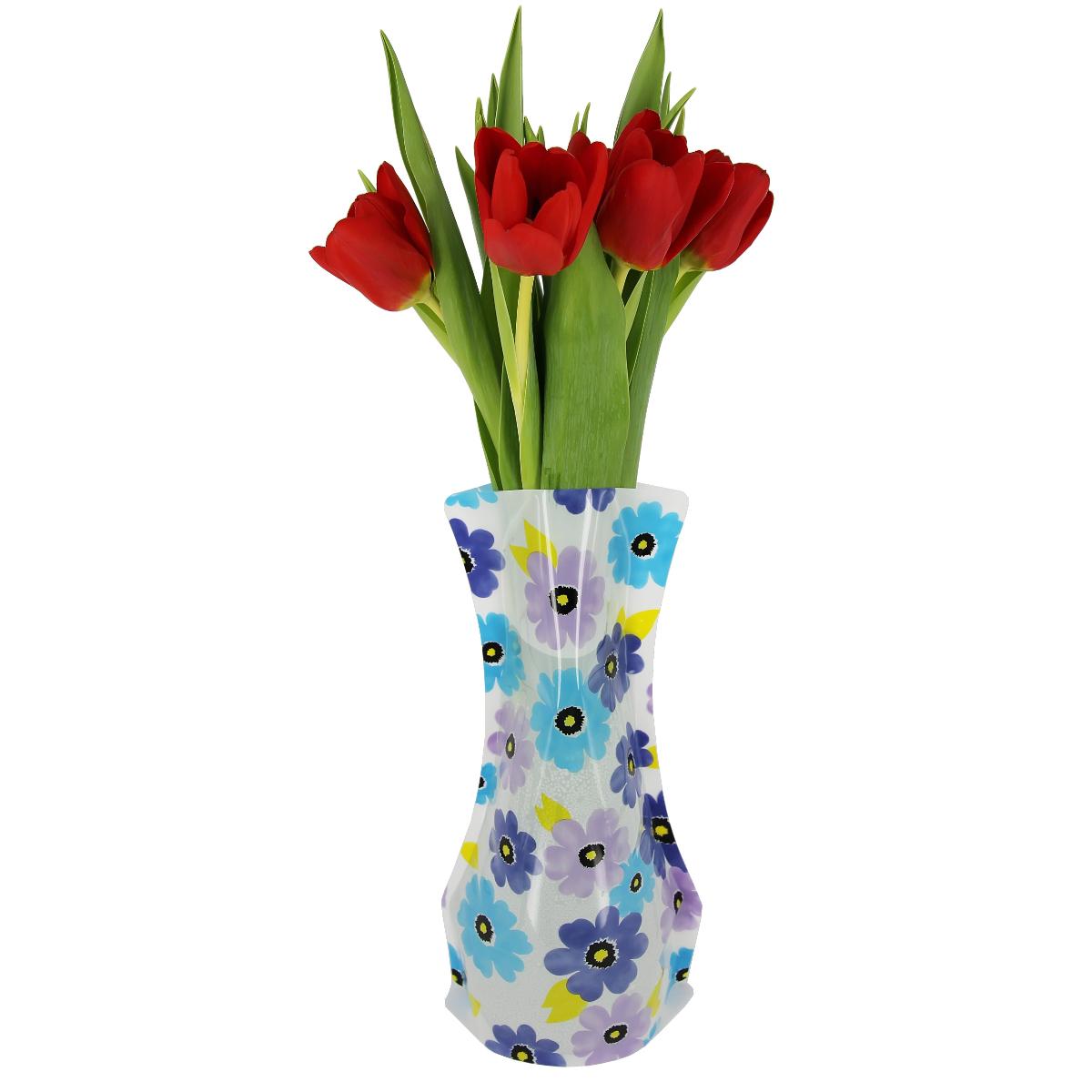 Ваза МастерПроф Сине-фиолетовые ромашки, пластичная, 1,2 лHS.040028Пластичная ваза Сине-фиолетовые ромашки легко складывается, удобно хранится - занимает мало места, долго служит. Всегда пригодится дома, в офисе, на даче, для оформления различных меропритятий. Отлично подойдет для перевозки цветов, или просто в подарок. Инструкция: 1. Наполните вазу теплой водой; 2. Дно и стенки расправятся; 3. Вылейте воду; 4. Наполните вазу холодной водой; 5. Вставьте цветы. Меры предосторожности: Хранить вдали от источников тепла и яркого солнечного света. С осторожностью применять для растений с длинными стеблями и с крупными соцветиями, что бы избежать опрокидывания вазы.