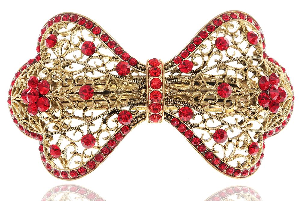 Заколка для волос в византийском стиле от D.Mari. Кристаллы рубинового цвета, филигрань, бижутерный сплав 'старое золото'. Гонконг