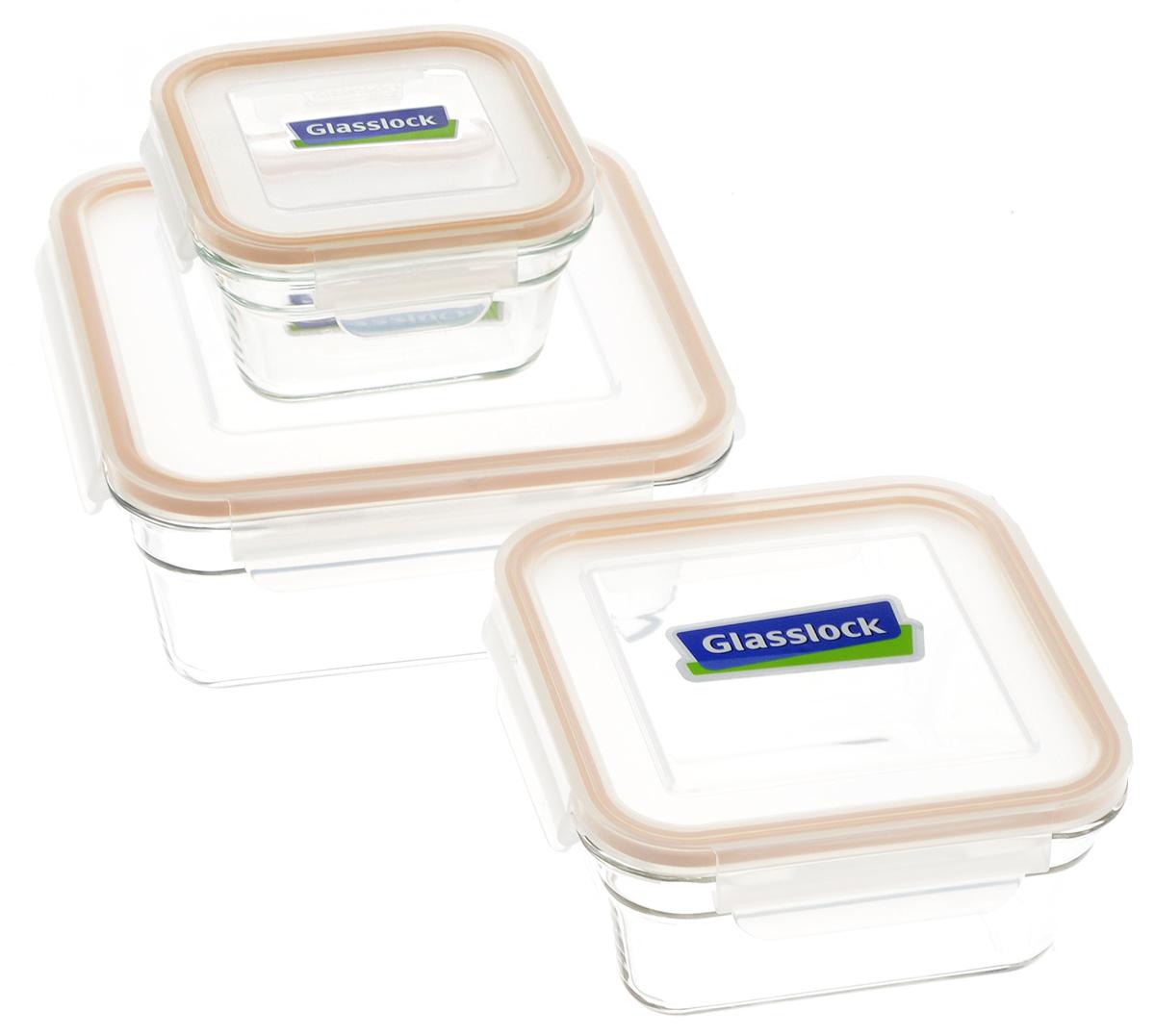 """Набор контейнеров для запекания """"Glasslock"""", цвет: прозрачный, светло-оранжевый, 3 шт"""