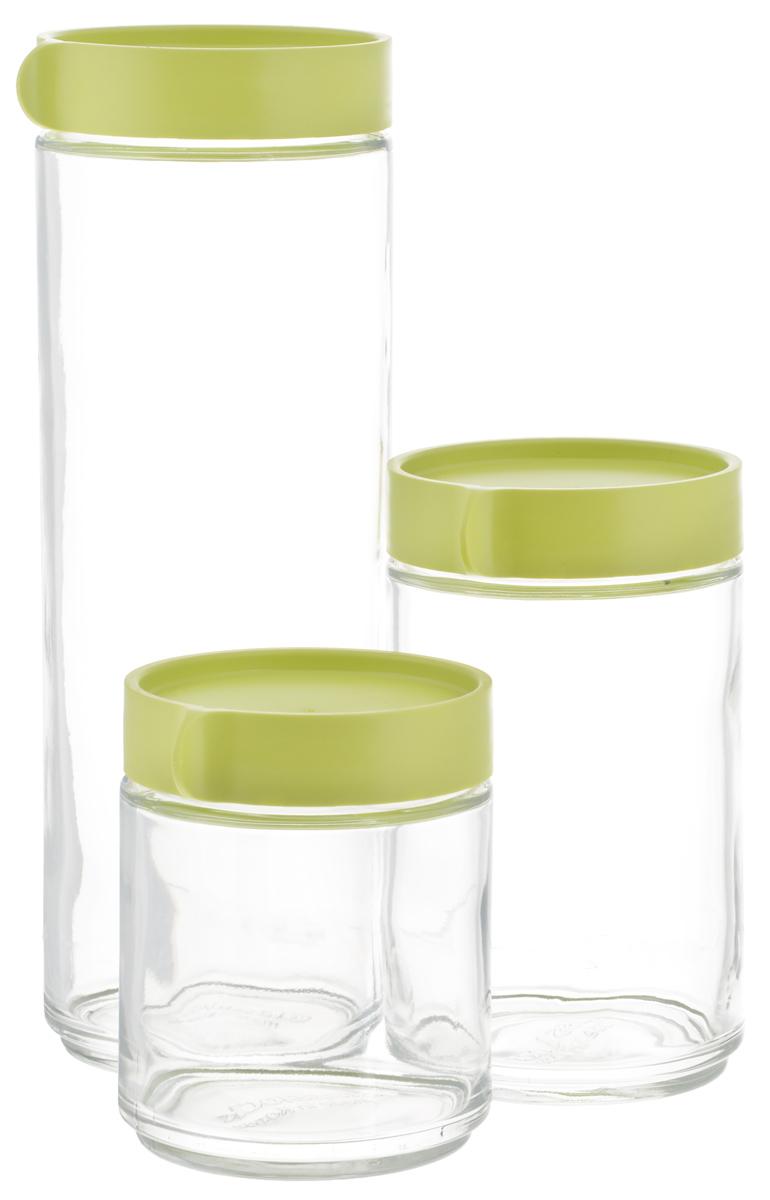 Набор емкостей для сыпучих продуктов Glasslock, 3 шт. IG-588/GIG-588/GНабор Glasslock, изготовленный из высококачественного стекла и пластика, состоит из трех емкостей разного объема. Емкости прекрасно подойдут для хранения различных сыпучих продуктов: специй, чая, кофе, сахара, круп и многого другого. Изделия удобно ставятся друг на друга для экономии места на кухне. Емкости надежно закрываются крышками. Благодаря этому они будут дольше сохранять свежесть ваших продуктов. Функциональные и вместительные, такие емкости станут незаменимыми аксессуарами на любой кухне. Можно мыть в посудомоечной машине. Не рекомендуется использовать в духовом шкафу и микроволновой печи. Объем емкостей: 400 мл; 600 мл; 1,05 л. Диаметр емкостей (по верхнему краю): 7 см. Высота емкостей (с учетом крышек): 11 см; 15 см; 25 см.