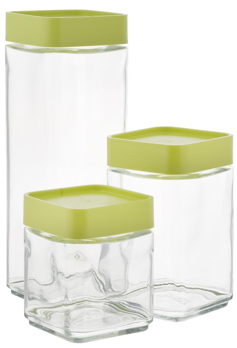 Набор емкостей для сыпучих продуктов Glasslock, цвет: прозрачный, светло-зеленый, 3 штIG-589/GНабор Glasslock состоит из трех емкостей для сыпучих продуктов. Изделия выполнены из экологически чистого закаленного ударопрочного стекла и оснащены пластиковыми крышками. Емкости удобно ставятся друг на друга для экономии места на кухне. Изделия плотно и герметично закрываются крышками, что позволяет продуктам дольше оставаться свежими, сохранять аромат и вкус. Благодаря прозрачным стенкам, можно видеть содержимое. Размер подходит для хранения в дверце холодильника. Такие емкости идеально подходят для хранения различных сыпучих продуктов: орехов, печенья, круп, хлопьев, варенья и многого другого. Можно мыть в посудомоечной машине. Подходят для хранения пищи в морозильнике и холодильнике. Не использовать в микроволновой печи и духовке. Комплектация: 3 шт. Объем емкостей: 500 мл; 700 мл, 1300 мл. Размер емкости 500 мл: 8,5 см х 8,5 см х 11 см. Размер емкости 700 мл: 8,5 см х 8,5 см х 15 см. ...