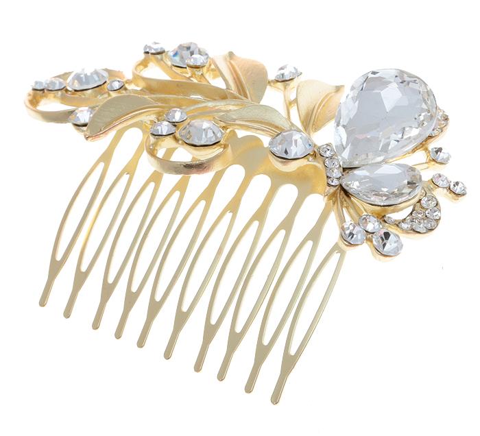 Гребень для волос 'Вероника'. Прозрачные кристаллы и стразы, бижутерный сплав золотого тона. Villa di Mario, Италия