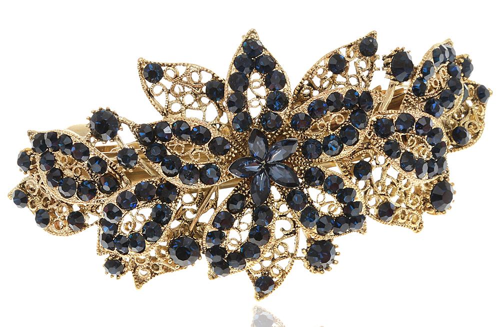 Заколка для волос от D.Mari. Стразы темно-синего цвета, филигрань, бижутерный сплав 'старое золото'. Гонконг