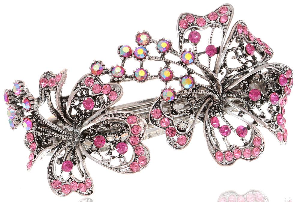 Заколка для волос в византийском стиле от D.Mari. Кристаллы Aurora Borealis, кристаллы розового цвета, бижутерный сплав серебряного тона. Гонконг