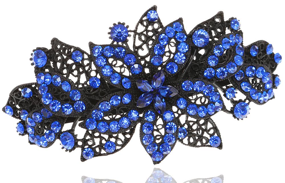 Заколка для волос в византийском стиле от D.Mari. Кристаллы сапфирового цвета, филигрань, бижутерный сплав, черная эмаль. Гонконг