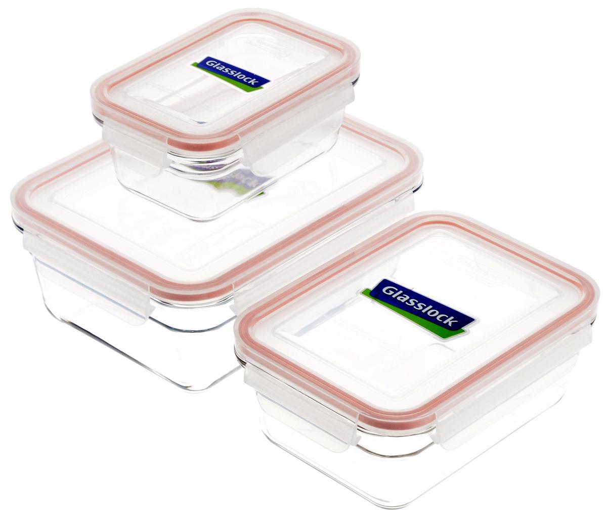Набор контейнеров для запекания Glasslock, цвет: прозрачный, оранжевый, 3 шт. GL-529GL-529Набор Glasslock состоит из трех контейнеров разного объема. Контейнеры выполнены из высококачественного закаленного стекла и оснащены герметичными крышками с уплотнительными резинками, они надежно закрываются с помощью защелок. Изделия предназначены для приготовления пищи в микроволновой печи и духовом шкафу без пластиковой крышки (+230°С). Контейнеры прозрачные, что позволяет видеть содержимое, это очень удобно и практично. Они также подходят для хранения продуктов в холодильнике и морозильной камере. Такой набор подходит для повседневного использования. Также в нем можно приготовить салаты или запекать любимые блюда. Приятный дизайн подойдет практически для любого случая. Можно мыть в посудомоечной машине. Не использовать в духовке и микроволновой печи с крышкой. Объем: 485 мл; 970 мл; 1730 мл. Размер контейнеров (с учетом крышек): 15,5 х 10,5 х 6,5 см; 18,5 х 14 х 7,5 см; 21,5 х 16,5 х 8,5 см.