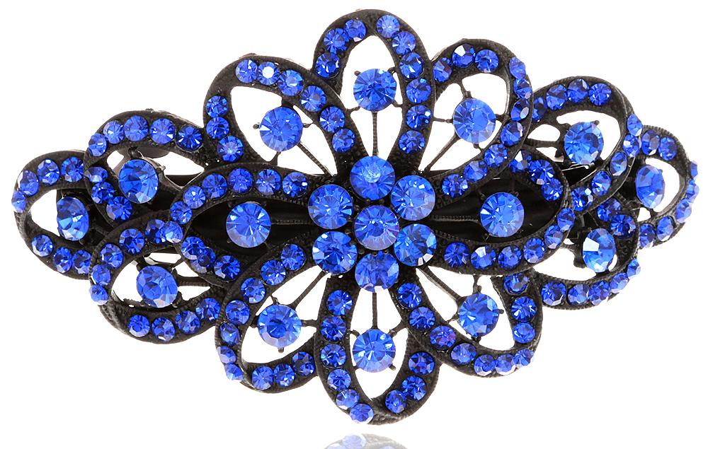 Заколка для волос в византийском стиле от D.Mari. Стразы сапфирового цвета, бижутерный сплав, черная эмаль. Гонконг