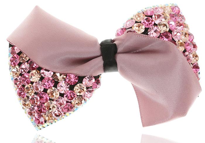 Заколка для волос. Кристаллы розового цвета, атлас цвета пыльная роза, бижутерный сплав серебряного тона. Kaizer, ГонконгVT 46Заколка для волос. Кристаллы розового цвета, атлас цвета пыльная роза, бижутерный сплав серебряного тона. Kaizer, Гонконг. Размер - 9 х 6 см.