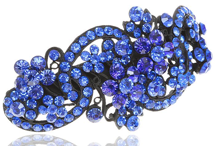 Заколка для волос в византийском стиле от D.Mari. Кристаллы сапфирового цвета, бижутерный сплав, черная эмаль. Гонконг