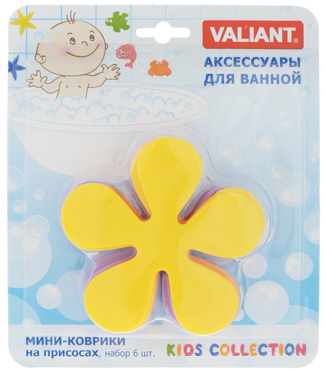 Набор мини-ковриков для ванной Valiant Цветок, на присосах, цвет: желтый, оранжевый, фиолетовый, 6 шт161Y_желтый, оранжевый, фиолетовыйНабор Valiant Цветок, выполненный из полимерных материалов высокого качества, состоит из 6 мини-ковриков в виде цветка. Мини- коврики - это модный и экономичный способ сделать вашу ванную комнату более уютной, красивой и безопасной. Изделия крепятся на любую поверхность с помощью вакуумных присосок. Вы сможете расположить их там, где вам необходимо яркое цветовое пятно и одновременно - надежная противоскользящая опора. Такие мини-коврики незаменимы при купании маленького ребенка, он не поскользнется и не упадет, держась за мягкую и приятную на ощупь рифленую поверхность изделия. Размер мини-коврика: 10,5 х 10,5 см. Количество: 6 шт.
