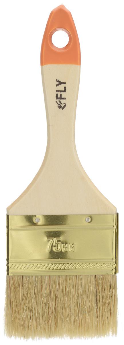 Кисть малярная Fly Light, плоская, натуральная щетина, ширина 75 мм01-075Плоская кисть Fly Light подойдет для работы с любыми лакокрасочным материалами. Светлая, натуральная щетина позволяет наносить краску ровно и гладко, без подтеков. Специальный металлический бандаж надежно фиксирует рабочую часть. Рукоятка из твердой древесины обладает удобной для руки формой, а специальное отверстие на конце предназначено для подвеса. Длина кисти: 22 см. Ширина щетины: 75 мм.