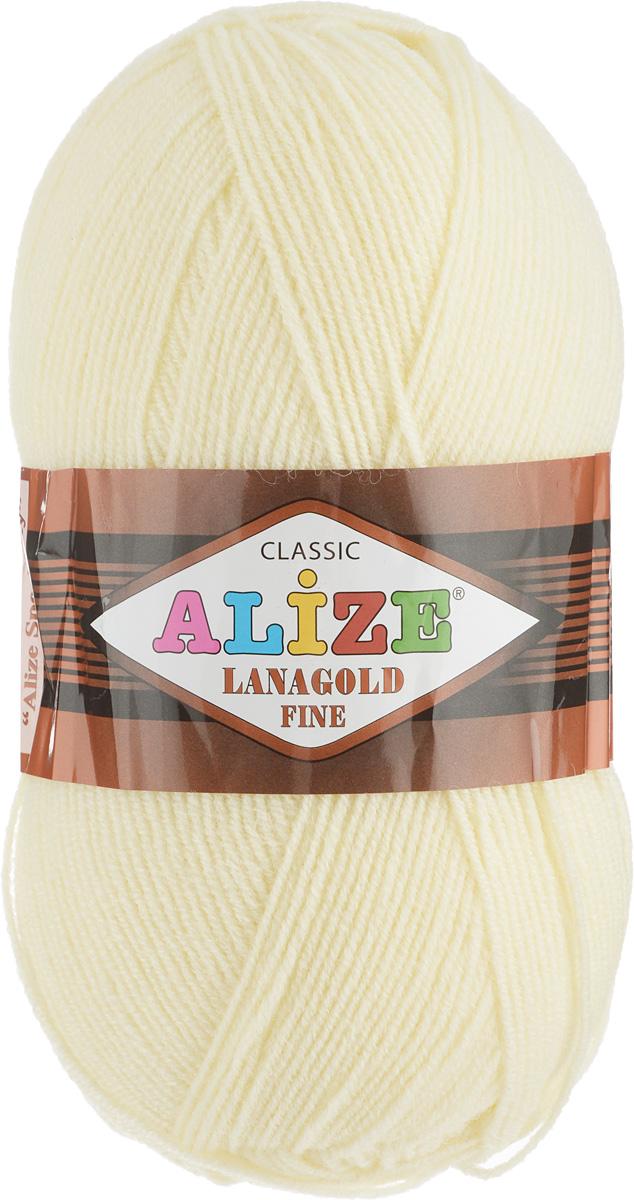 Пряжа для вязания Alize Lanagold Fine, цвет: светло-желтый (01), 390 м, 100 г, 5 шт547499_01Alize Lanagold Fine - это полушерстяная пряжа для ручного вязания. Нить плотно скручена, гибкая, послушная, не пушится, не электризуется, аккуратно ложится в петли и не деформируется после распускания. Стойкое равномерное окрашивание обеспечивает широкую палитру оттенков, высокое качество материала и используемых красителей защищает от потери цвета. Соотношение шерсти и акрила - формула практичности. Высокие тепловые характеристики сочетаются с эстетикой, носкостью и простотой ухода за вещью. Классическая пряжа для зимнего сезона, может использоваться для детской и взрослой одежды. Alize Lanagold Fine - универсальная пряжа, которая будет хорошо смотреться в узорах любой сложности. Рекомендуемый размер спиц 2,5-4 мм и крючка 2-4 мм. Состав: 49% шерсть, 51% акрил.