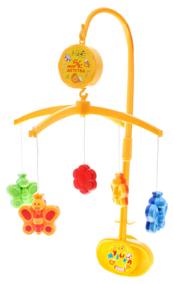 Мир детства Мобиль Музыкальная сказка Бабочки21602бМобиль Мир детства Музыкальная сказка. Бабочки изготовлен из безопасных материалов и прошел тщательный контроль качества. Мобиль легко собирается и устанавливается, имеет устойчивое крепление, не требует батареек. Вращается и проигрывает мелодию, если повернуть ключик по часовой стрелке. Мелодию можно остановить в любой момент, передвинув рычажок выключателя. Хоровод ярких бабочек, которые летают над вашим малышом в ритме нежной музыки, способствует развитию первого слухового и зрительного восприятия.