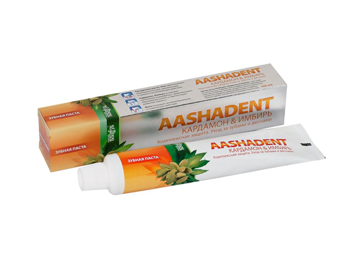 Aashadent Зубная паста Кардамон и Имбирь, 100 мл0841028004218Эффективно останавливает и лечит кровоточивость десен, укрепляет их.