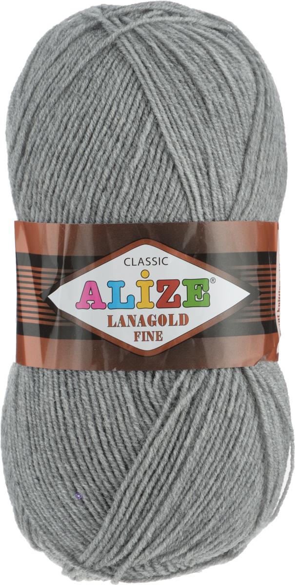Пряжа для вязания Alize Lanagold Fine, цвет: серый меланж (21), 390 м, 100 г, 5 шт547499_21Alize Lanagold Fine - это полушерстяная пряжа для ручного вязания. Нить плотно скручена, гибкая, послушная, не пушится, не электризуется, аккуратно ложится в петли и не деформируется после распускания. Стойкое равномерное окрашивание обеспечивает широкую палитру оттенков. Соотношение шерсти и акрила - формула практичности. Высокие тепловые характеристики сочетаются с эстетикой, носкостью и простотой ухода за вещью. Классическая пряжа для зимнего сезона, может использоваться для детской и взрослой одежды. Alize Lanagold Fine - универсальная пряжа, которая будет хорошо смотреться в узорах любой сложности. Рекомендуемый размер спиц 2,5-4 мм и крючка 2-4 мм. Состав: 49% шерсть, 51% акрил.