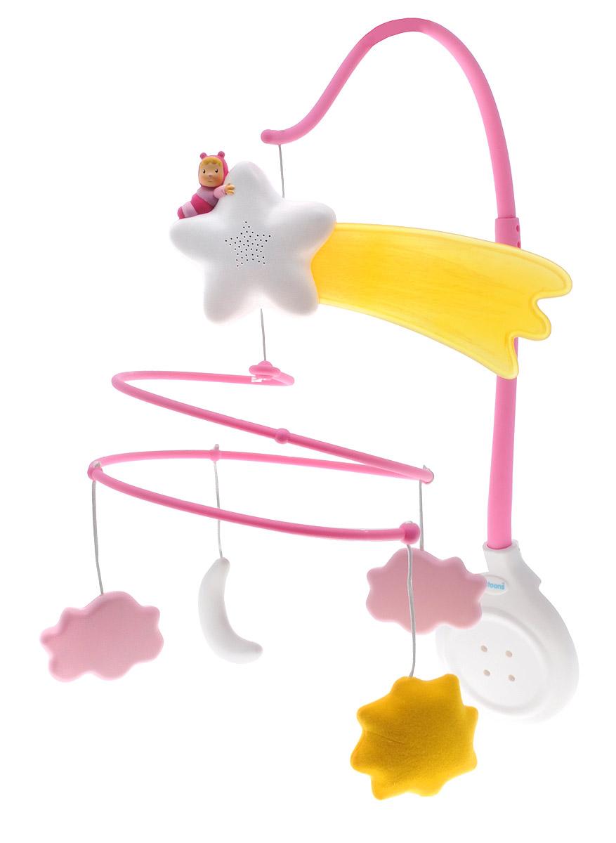 Smoby Музыкальный мобиль Cotoons цвет розовый211338Музыкальный мобиль Smoby Cotoons оригинальная игрушка, создающая атмосферу уюта и спокойствия в детской комнате. Под приятные мелодии на мобиле медленно покачиваются тучки, луна, солнышко и звезда с ярким хвостом. К стойке крепится музыкальный блок. Устройство предусматривает различные режимы работы. Можно включить только подсветку, или музыку вместе с подсветкой. Сочетание музыки и мягкого света поможет ребенку успокоиться, а также развить цветовое и звуковое восприятия, эмоциональный интеллект. Музыкальный мобиль легко крепится к кровати. Хвост звездочки подсвечивается мягким светом, что позволяет малышу не бояться темноты. А нежные мелодии помогут малышу скорее заснуть. Для работы требуются 3 батарейки типа ААА (в комплект не входят).