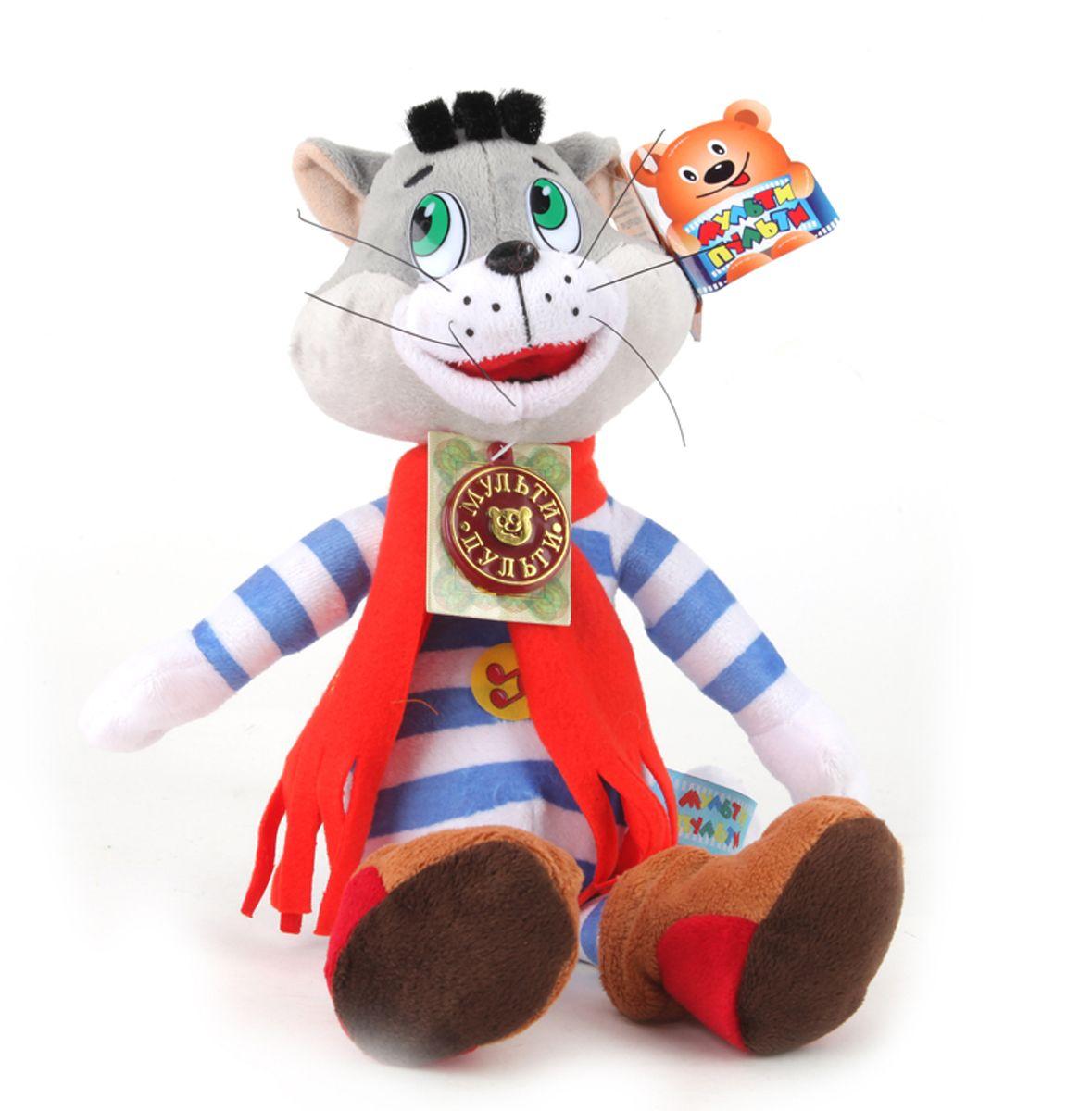 Мульти-Пульти Мягкая озвученная игрушка Матроскин 35 смV27548/22Мягкая озвученная игрушка Мульти-Пульти Матроскин непременно развеселит вашего малыша! Она выполнена в виде полосатого котика - персонажа известного мультфильма Трое из Простоквашино. Туловище игрушки мягконабивное и очень приятное на ощупь, на шее завязан красный шарфик с надписью Матроскин. На ногах у котика - мягкие валеночки. Если нажать котику на животик, то он произнесет фразы своего персонажа, или проиграет мелодию из мультфильма. Игрушка подарит своему обладателю хорошее настроение и позволит насладиться обществом любимого героя. Порадуйте своего ребенка таким замечательным подарком! Мягкая игрушка сама по себе ассоциируется с радостью и весельем, а для детей такой подарок станет поистине незабываемым. Забавные, добрые мягкие игрушки радуют детей с самого рождения. Ведь уже в первые месяцы жизни ребенок проявляет интерес к плюшевым зверятам и необычным персонажам. Они помогают ему познавать окружающий мир через тактильные ощущения, знакомят его с...