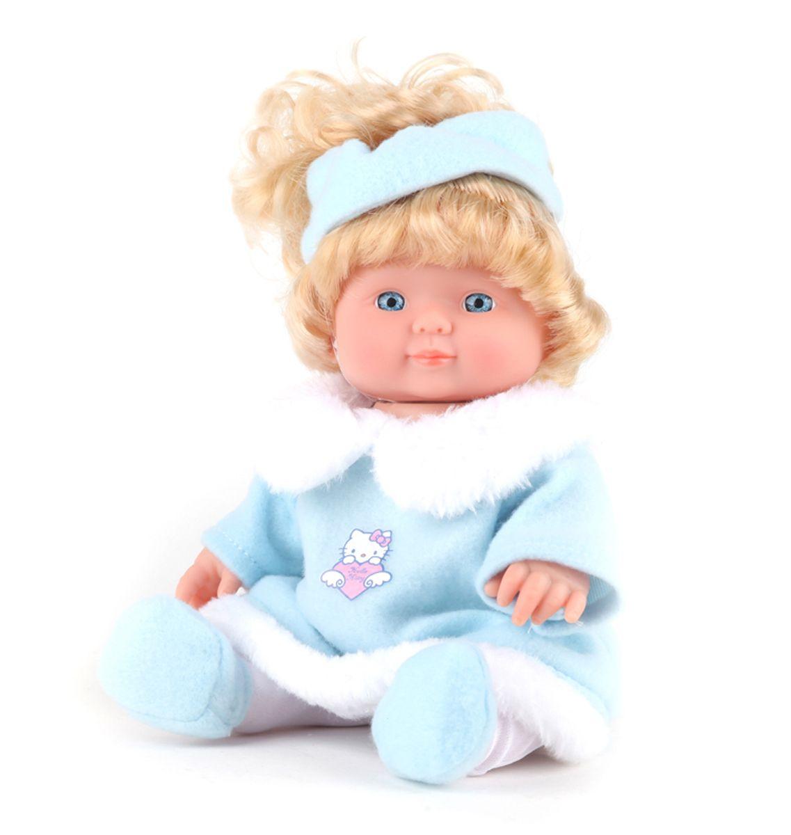 Карапуз Кукла Нello Кitty в шубке30205-HELLO KITTYНажмите на кнопку на животе куклы и она будет звать маму и папу, смеяться и лепетать. У нее подвижные ручки и ножки, твердое тело. Кукла одета в милую шубку с изображением кошечки Hello Kitty. Батарейки входят в комплект.