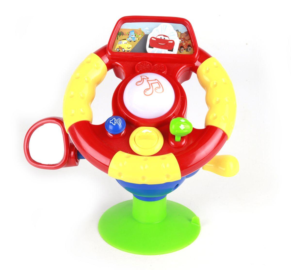 Умка Развивающий руль ТачкиB655-H05019-RU2руль для малышей на присоске. рулевое колесо можно крутить, при этом фигурка машинки за стеклом будет двигаться. множество подвижных элементов для развития мелкой моторики: зеркало, переключатель передач, замок зажигания. нажатие на клаксон активирует песню про героев м/ф и стихотворение. а, поворот замка зажигания активирует характерный звук.