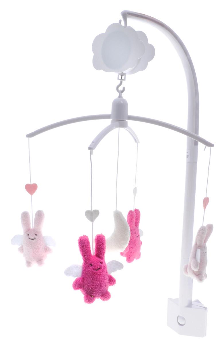 Trousselier Музыкальный мобиль Кролики-ангелы цвет розовый светло-розовыйVM1163 11Музыкальный мобиль Trousselier Кролики-ангелы - идеальное решение для новорожденного малыша. Мелодия мобиля позволит крохе скорее успокоиться и заснуть. Небольшие мягкие игрушки на подвеске в виде кроликов-ангелов развлекут малыша. Игрушки изготовлены из приятного на ощупь материала. Мобиль оснащен механическим музыкальным вращающимся блоком. Крепить мобиль нужно на бортик кроватки таким образом, чтобы расстояние от глаз малыша до игрушек не превышало 30 сантиметров, и чтобы игрушки крутились над грудью ребенка для удобной фокусировки зрения. С помощью мобиля ребенок будет учиться концентрировать свой взгляд на движущихся объектах, различать формы и цвета.