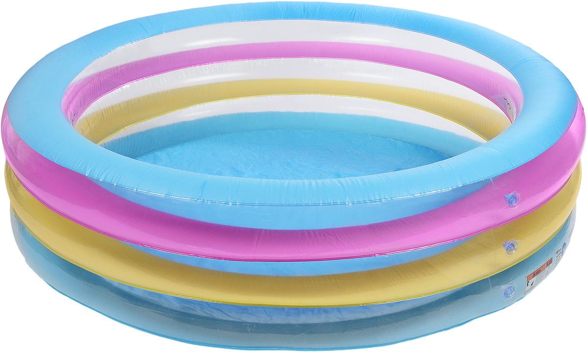 Bestway Бассейн надувной Прозрачная волна. 5102951029Круглый надувной бассейн Bestway Прозрачная волна идеально подойдет для детского и семейного отдыха на загородном участке. Бассейн изготовлен из прочного и испытанного винила. Бассейн состоит из 3 колец одинакового размера, имеет расширенные боковые стенки. Комфортный дизайн бассейна и приятная цветовая гамма сделают его не только незаменимым атрибутом летнего отдыха, но и оригинальным дополнением ландшафтного дизайна участка. В комплект с бассейном входит заплата для ремонта в случае прокола.