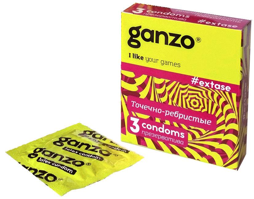 Ganzo Презервативы Extase, с точечной и ребристой поверхностью, 3 шт11005Прозрачные презервативы Ganzo Extase анатомической формы с силиконовой смазкой и накопителем имеют точечную и ребристую поверхность для максимальной стимуляции партнерши. Изготовлены из натурального высококачественного латекса. Проверены с использованием электростатической технологии для большей надежности.