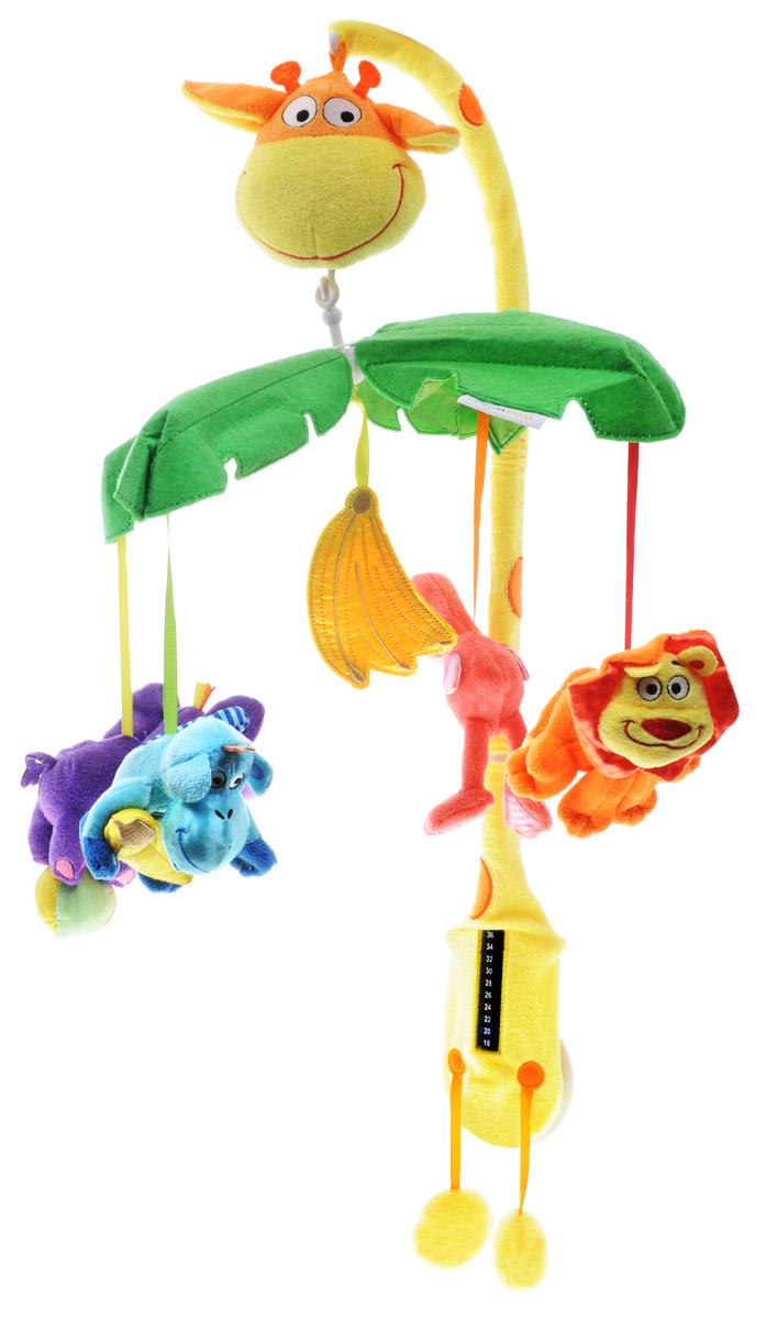 WeeWise Музыкальный мобиль Джунгли10110Музыкальный мобиль WeeWise Джунгли развивает внимание, помогает фокусировки взгляда, стимулирует зрительное восприятие, развивает координацию движений, расслабляет и успокаивает. Разноцветные игрушки закреплены на дужках, смотрят прямо на ребенка и создают эффект зрительного контакта. Все элементы имеют приятную на ощупь бархатистую поверхность. При вращении дужек с игрушками воспроизводится спокойная мелодия. Функционирование осуществляется по принципу заводной механической игрушки, ключ встроен. Способствует тренировке слухового и зрительного восприятия. Мобиль имеет встроенный комнатный термометр.