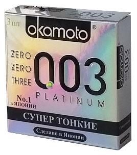 Okamоto Презервативы 0.03 Platinum, супер тонкие, 3 шт43962Прозрачные презервативы Okamato 0.03 Platinum цилиндрической формы с накопителем и силиконовой смазкой изготовлены из натурального высококачественного японского латекса. Самые тонкие и прочные латексные презервативы в мире. Обеспечивают максимальный уровень чувствительности. Проверены с использованием электростатической технологии для максимальной надежности. Характеристики: Материал презерватива: латекс. Количество презервативов: 3. Длина презерватива: 180 ± 7 мм. Ширина презерватива: 52 ± 2 мм. Толщина презерватива: 0.03 ± 0.01 мм. Производитель: Япония. Товар сертифицирован.