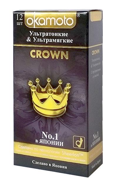 """Okamоto Презервативы """"Crown"""", ультратонкие, ультрамягкие, 12 шт"""