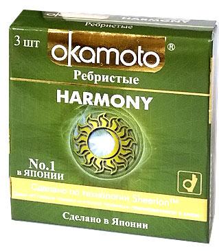 Okamоto Презервативы Harmony, ребристые, 3 шт26204Презервативы Okamato Harmony анатомической формы с накопителем, силиконовой смазкой и особой перекрестной ребристой структурой. Изготовлены из натурального высококачественного японского латекса с использованием особой технологии Sheerlon. Благодаря особой ребристой структуре усиливают ощущения обоих партнеров, привнося в отношения гармонию. Проверены с использованием электростатической технологии для максимальной надежности. Цветные: розовый оттенок.