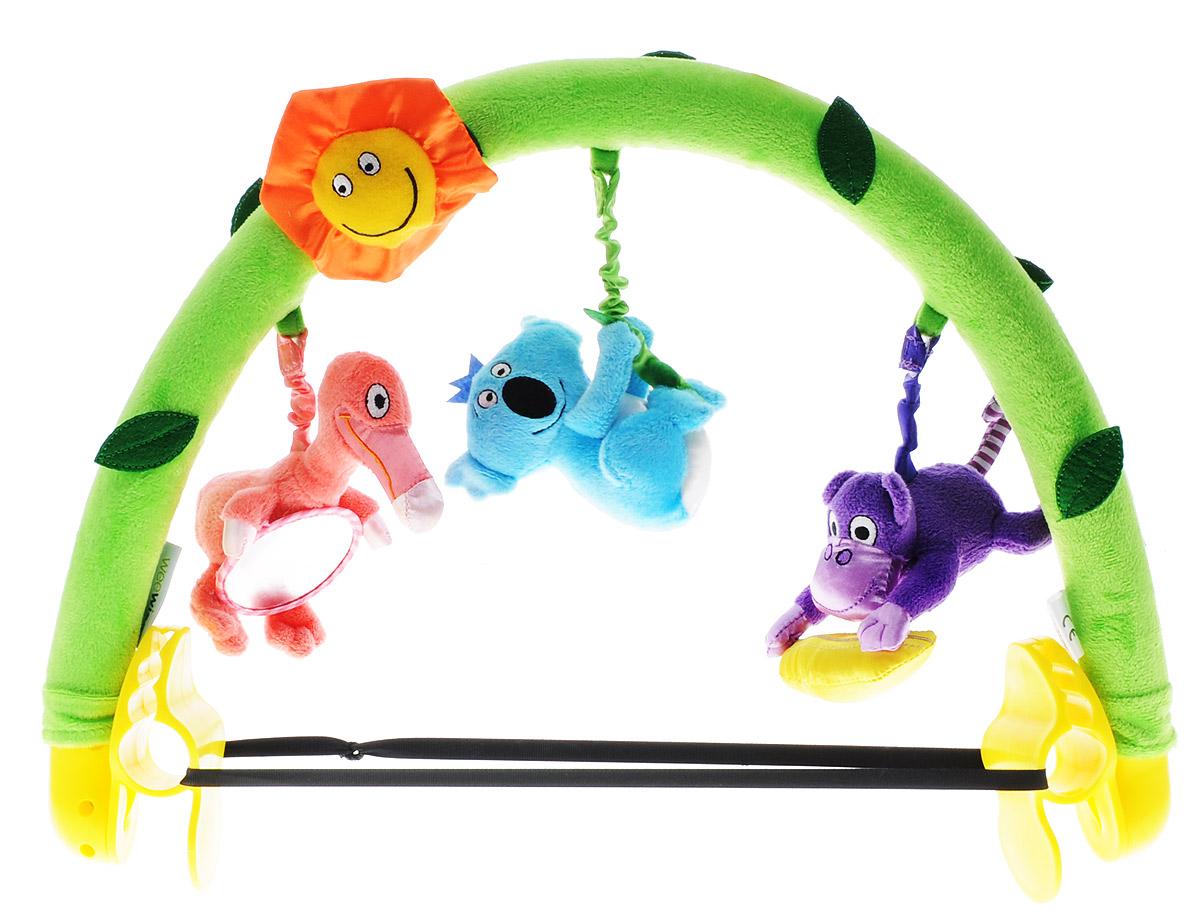 WeeWise Развивающая музыкальная дуга Джунгли20110Развивающая музыкальная дуга WeeWise Джунгли развлечет вашего ребенка во время прогулки или бодрствования. Она выполнена из мягкого и приятного на ощупь материала в виде дуги, к которой подвешены три игрушки в виде обезьянки, фламинго с безопасным зеркалом и коалы. Дуга крепится при помощи специальных держателей. Угол ее наклона и высота могут регулироваться. Развивающая дуга WeeWise Джунгли поможет малышу развить цветовое и слуховое восприятия, тактильные ощущения, мелкую моторику рук и координацию движений.