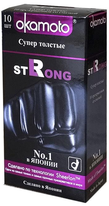 Okamоto Презервативы Strong, супер толстые, 10 шт71244Презервативы Okamato Strong черного цвета, цилиндрической формы с накопителем, силиконовой смазкой и утолщенными стенками. Изготовлены из натурального высококачественного японского латекса с использованием особой технологии Sheerlon. За счет утолщенных стенок обеспечивается еще больший уровень надежности, однако благодаря мягкости не теряется чувствительность. Проверены с использованием электростатической технологии для максимальной надежности.
