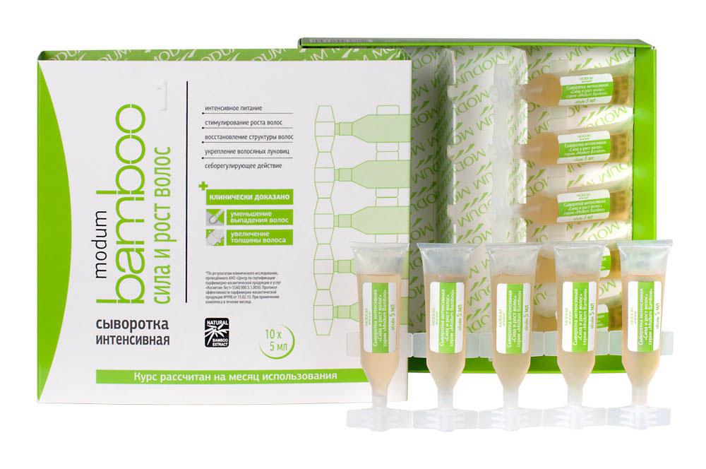 Modum Bamboo Сыворотка интенсивная Сила и Рост волос, 10 шт х 5 млC088-103Специальная сбалансировованная формула сыворотки оказывает комплексное благотворное воздействие на корни волос, усиливая кровоснабжение, улучшая питание луковиц, продлевая фазу активного роста волос, уменьшая выпадение, усиливая рост волос, улучшая структуру кутикулярного слоя. -Интенсивное питание -Стимулирование роста волос -Восстановление структуры волос -Укрепление волосяных луковиц -Себорегулирующее действие