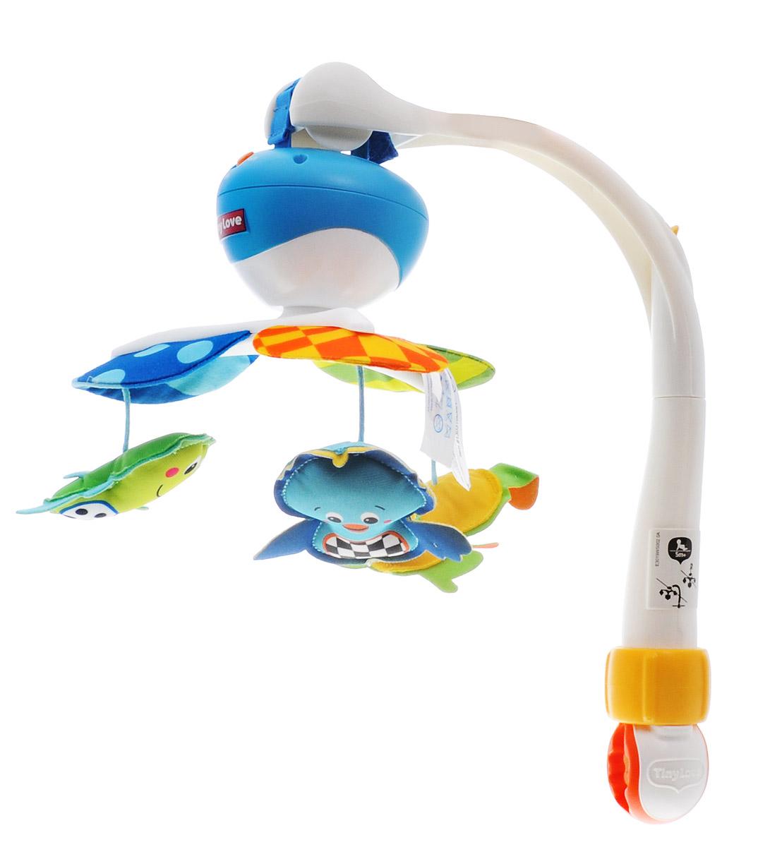 Tiny Love Музыкальный мобиль Take-Along1303106830Музыкальный мобиль Tiny Love Take-Along - оригинальная музыкальная игрушка, создающая атмосферу уюта и спокойствия в детской комнате с первых дней жизни малыша. Мобиль изготовлен из безопасных материалов ярких цветов. Пластиковое основание мобиля легко крепится к кроватке или манежу с помощью кронштейна с зажимом. К нему присоединяется карусель с тремя лепестками, к которым подвешены три мягкие игрушки в виде птички, зайчика и лягушки. Мобиль воспроизводит пять различных мелодий длительностью до 30 минут, а также может работать в режиме без музыкального сопровождения. Карусель с подвесными игрушками при желании можно снять и при помощи зажима - крокодила или ремешка с липучкой подвесить ее на коляску, кресло, автолюльку или игровую дугу крохи. Хоровод ярких зверюшек, которые летают над вашим малышом в ритме нежной музыки, способствует развитию первого слухового и зрительного восприятия. Рекомендуемый возраст: от 0 месяцев до 5 месяцев. Необходимо купить 3...